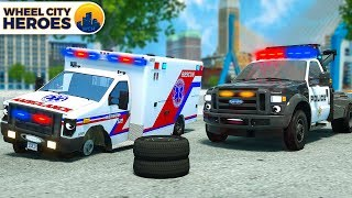 Police Car Assists Wheelless Ambulance | Vehicle Trucks Cartoon for Kids | Wheel City Heroes