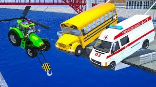 Learn Colors with Tractor Helicopter Fix Bridge for School Bus, Ambulans Parking Vehilce fro Kids
