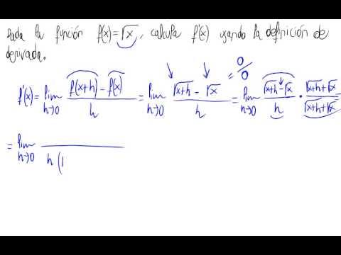 Derivada por definición (raíz cuadrada de x)