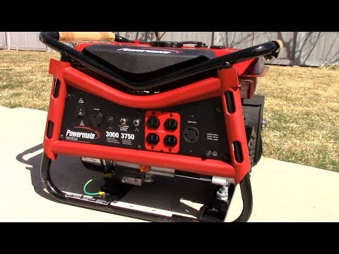 Inexpensive portable residential gasoline generator - Set Up & REVIEW Powermate 3000-Watt