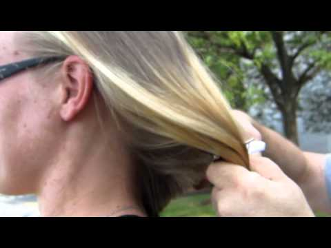 long blonde hair cut short ( please comment if like the ponytail chops )