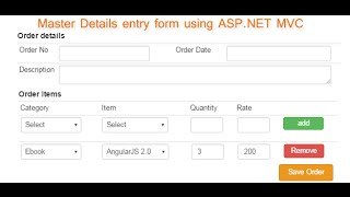 Advance master details entry form in asp.net MVC