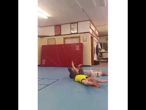 Playing around after class. Flying armbar!