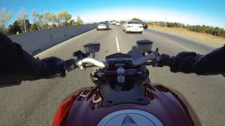 Lane Splitting on a Ducati Streetfighter 1098 (Perfect Onboard Sound)