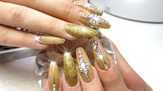 Acrylic Nails SUPER LONG!!! Gold Nail Design