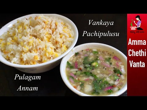 కార్తీకమాసం స్పెషల్ పులగమన్నం పచ్చిపులుసు-Pulagam Annam Recipe-Vankaya Pachi Pulusu Andhra Style