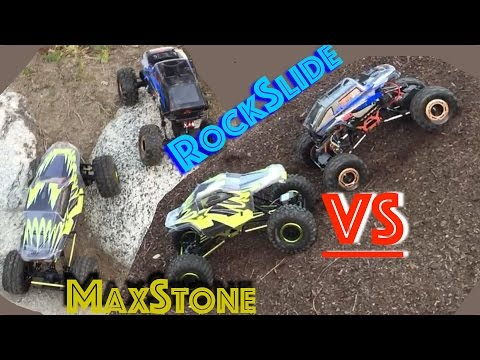 Redcat Rockslide RS10 VS Exceed MaxStone UNCUT - 1:10 Scale Crawlers   Funny 1st time Crawlers