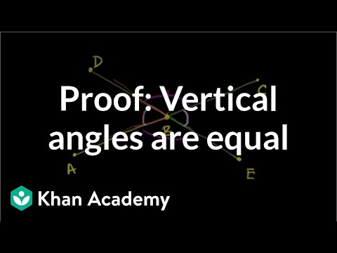 Proof-Vertical Angles are Equal