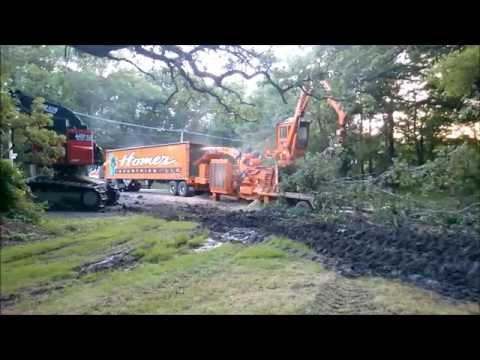 Giant Industrial Tree Shredder   Large Wood Chipper Devouring Whole Trees