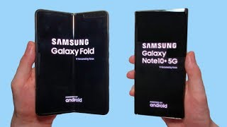 Galaxy Fold vs Galaxy Note 10+ 5G Speed Test, Speakers, Battery & Cameras!