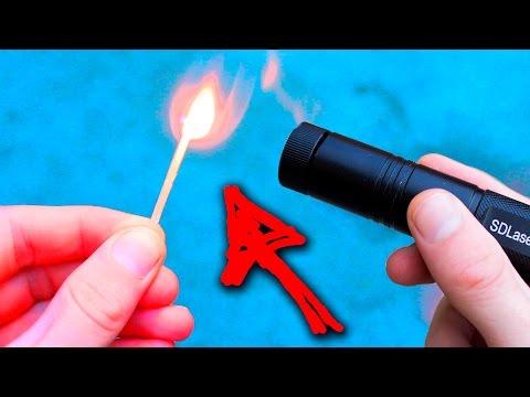 Мощный лазер поджигает спички! Лазер из Китая!