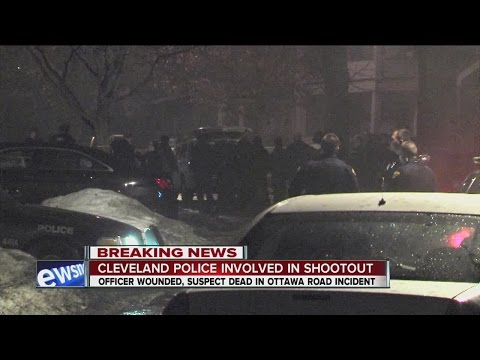Suspect dead, officer saved by vest in Cleveland shooting