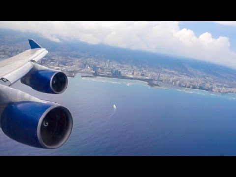 DELTA AIRLINES Boeing 747-451 / Honolulu to Atlanta / First Class / Great engine view and sound !