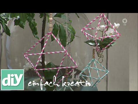 Strohhalm-Diamanten mit Blüten | DIY einfach kreativ