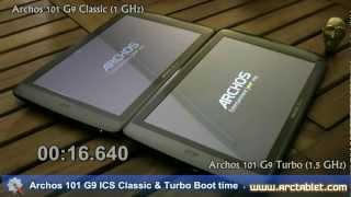 Archos 101 G9 Turbo ICS 1.5 GHz boot time in 30 seconds