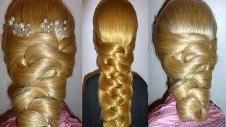 Простая вечерняя причёска на выпускной/свадебная причёска, причёска для средних/длинных волос