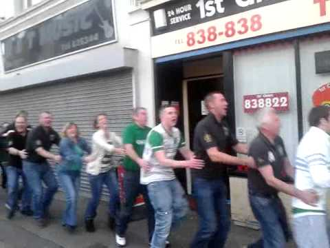 barrow celtic supporters  doing the conga when rangers die