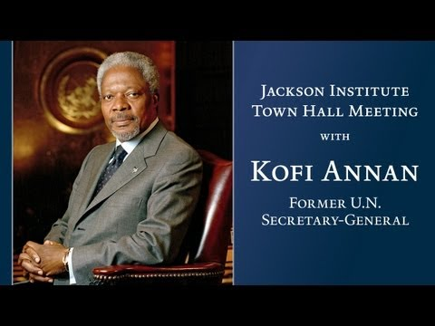 Former U.N. Secretary-General Kofi Annan speaks at Jackson Institute Town Hall Meeting