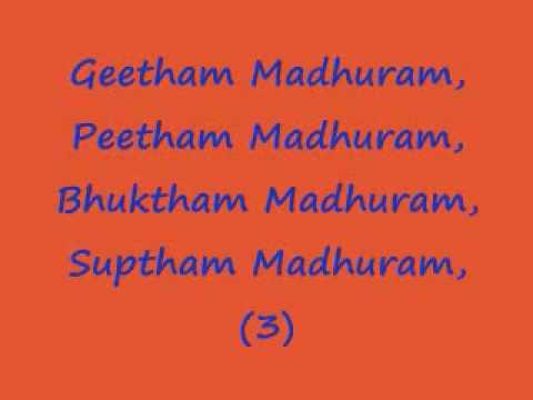Madhurashtakam - Adharam Madhuram (lyrics In English) video