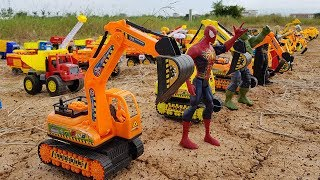 Car Toys Video For Kids | Excavator Dump Truck Drive At Rice Field For Children