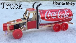 How to Make a Car (Electric Truck) Using Coca-Cola Can and Popsicle Sticks - Tutorial