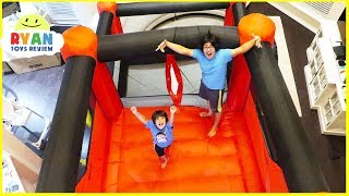 Giant Inflatable indoor bounce House with Slides in our living room!!!