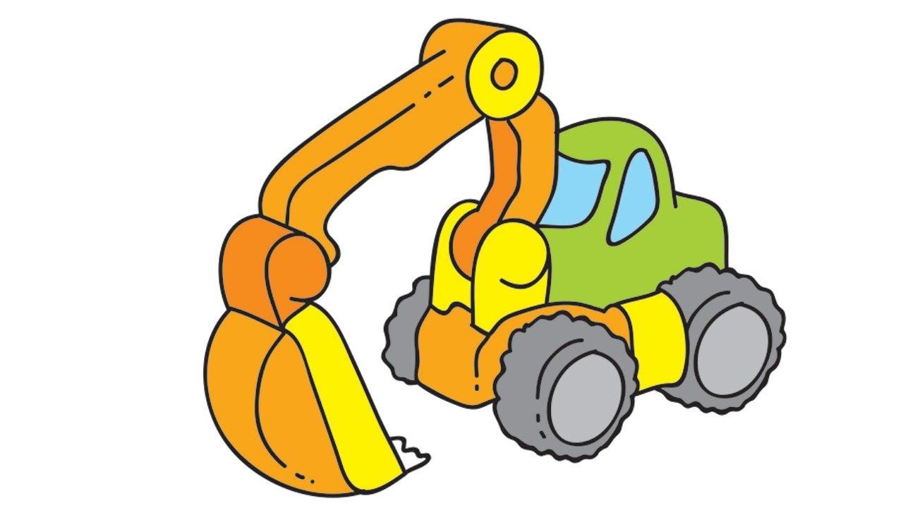 Mes jouets pr f r s la pelleteuse et l 39 avion dessins anim s en fran ais youtube - Pelle mecanique dessin anime ...