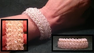 Beading4perfectionists : Bridal bracelet Swarovski pearls and bicones (B&B reject) beading tutorial