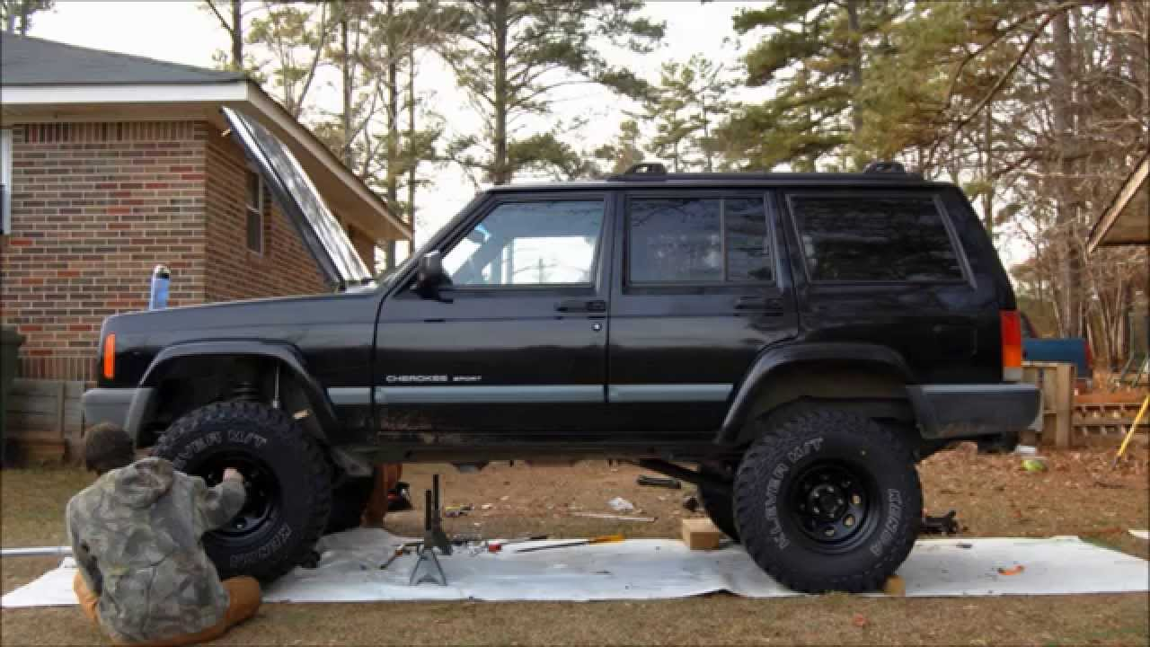 "Lifted Jeep Cherokee >> Slideshow of Jeep XJ Cherokee w/ Rough Country 4.5"" Lift Install 2wd ! - YouTube"