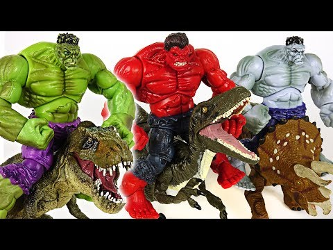 Marvel Green, Red, Grey Hulk three brothers! Be king of dinosaurs!! - DuDuPopTOY