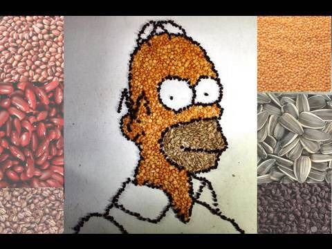 Homer Simpson Drawn With BEANS! Video