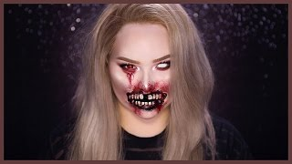 Glam ZOMBIE - Torn Mouth Halloween Makeup Tutorial
