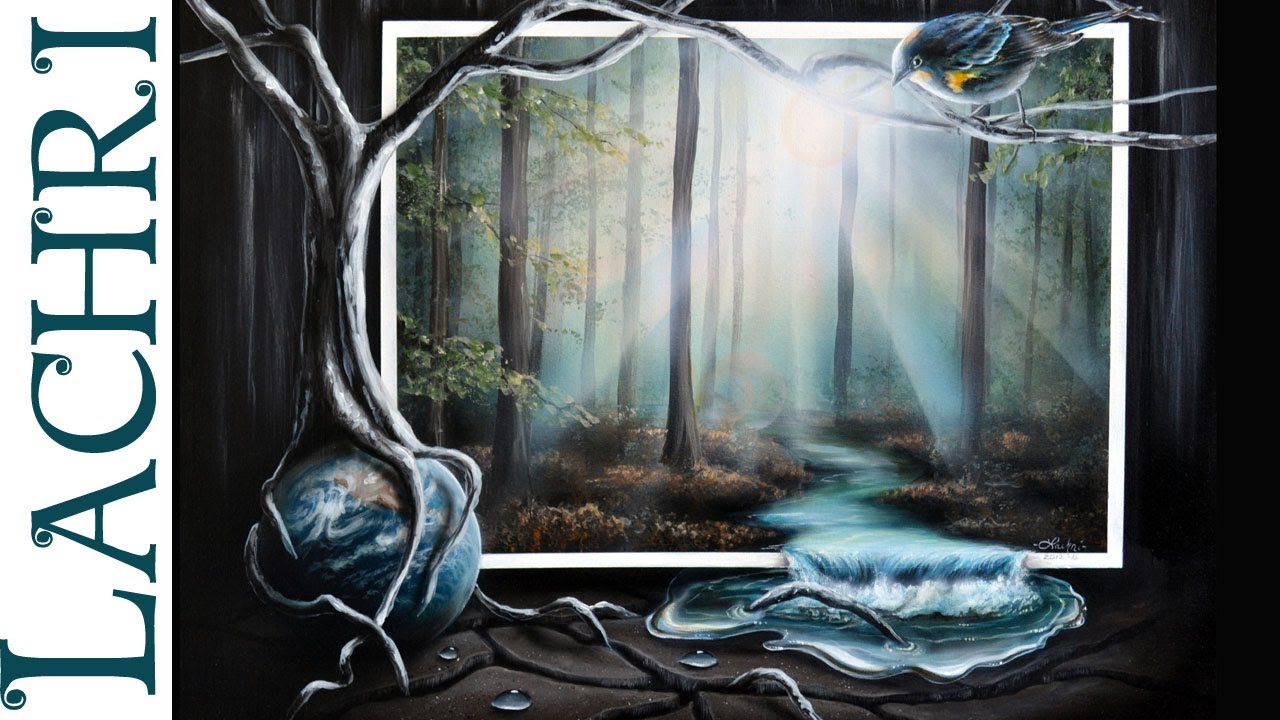 Time lapse speed painting surreal misty forest river and for Painting a forest in acrylics