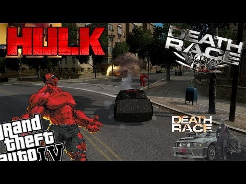 GTA 4 + Webcam Death Race and Red Hulk Mod - Death Race Car vs Red Hulk Battle!!