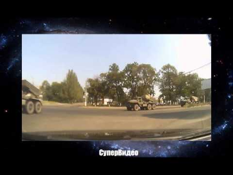 Колонна градов едет по Макеевке, Украина 2014