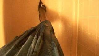 Blue Dress, Formal Shoes, and Damaged Pantyhose in a Shower