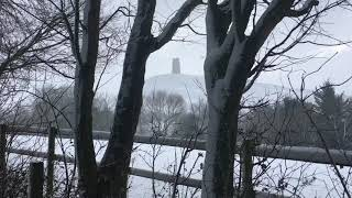 Snow Falling & Strong Wind Blowing in Glastonbury | Winter Snowstorm Sounds for Sleeping & Relaxing