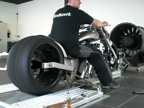 bike with worlds biggest tire dyno run