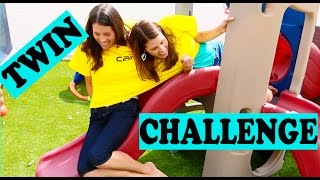 TWIN CHALLENGE Conjoined Twin FUNNY Twin Obstacle Course Little Tikes Power Wheels DisneyCarToys