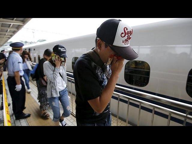 Japan: A man sets himself alight on a bullet train - no comment