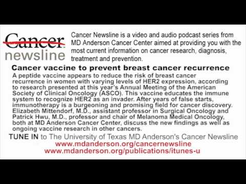 Cancer vaccine to prevent breast cancer recurrence
