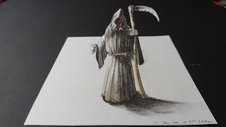 How to Draw 3D Grim Reaper, Art Drawing