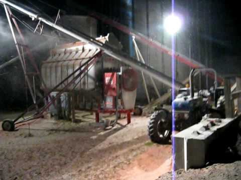 Grain Truck Unloading at Night into Dryer and Grain Bins - YouTube