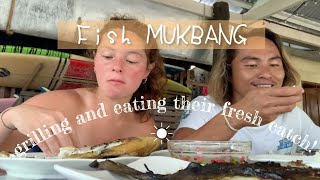 Grilling Our Friends' Fresh Catch + Fish Mukbang | Happy Islanders