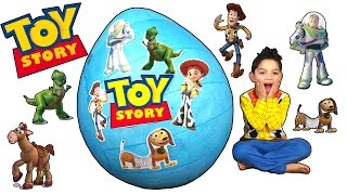 Toy Story Giant Toys Surprise Egg opening for kids woody, buzz, bullseye, Jessie, rex