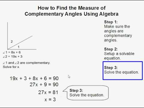 how to find the measure of complementary angles using algebra youtube. Black Bedroom Furniture Sets. Home Design Ideas