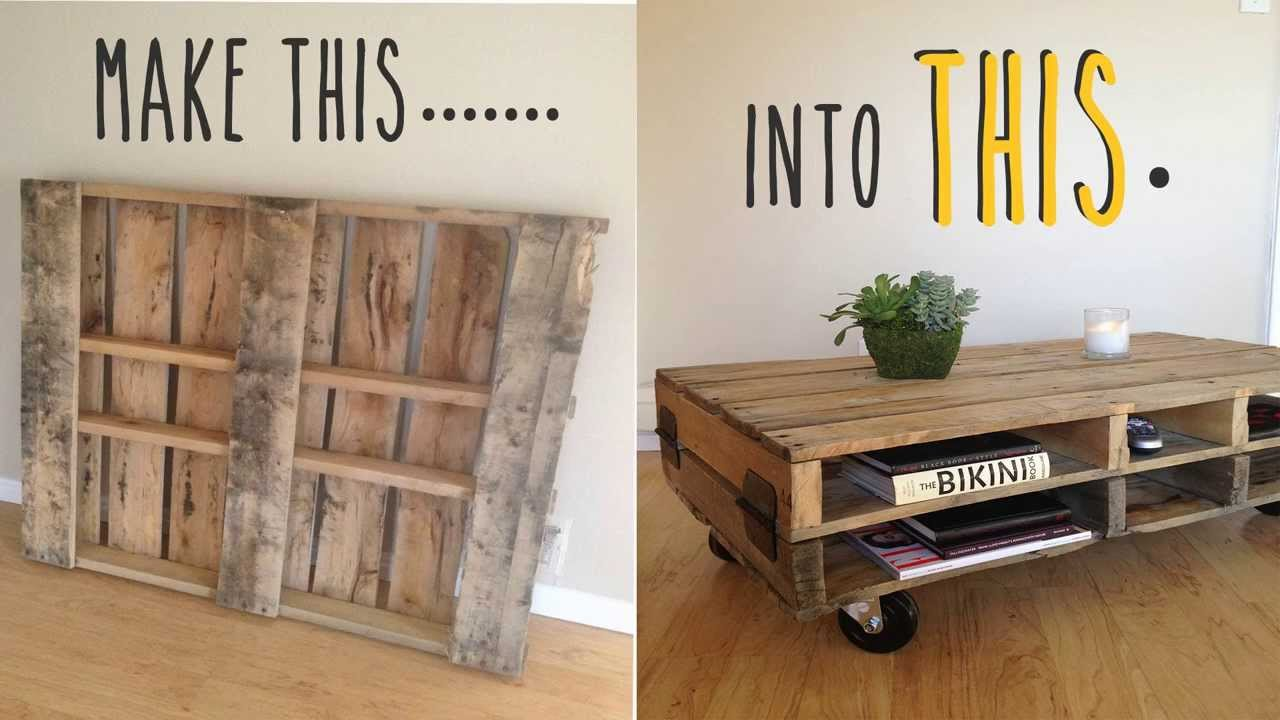 Diy how to make a coffee table out of an old pallet youtube - How to make table out of wood pallets ...