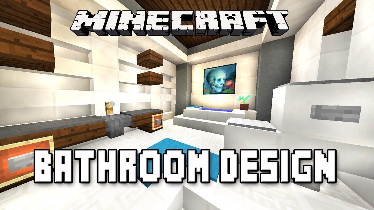 Minecraft Tutorial How To Make A Modern Bathroom Design Modern House Build Youtube