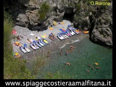Sequenza fotografica di tutte le 100 spiagge della Costiera Amalfitana da Vietri sul Mare a Punta Campanella.