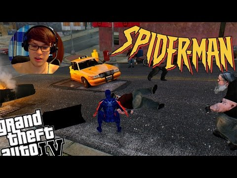 GTA IV Spiderman 2099 Mod + Zombie Mod - Spiderman Battles Zombie Infection
